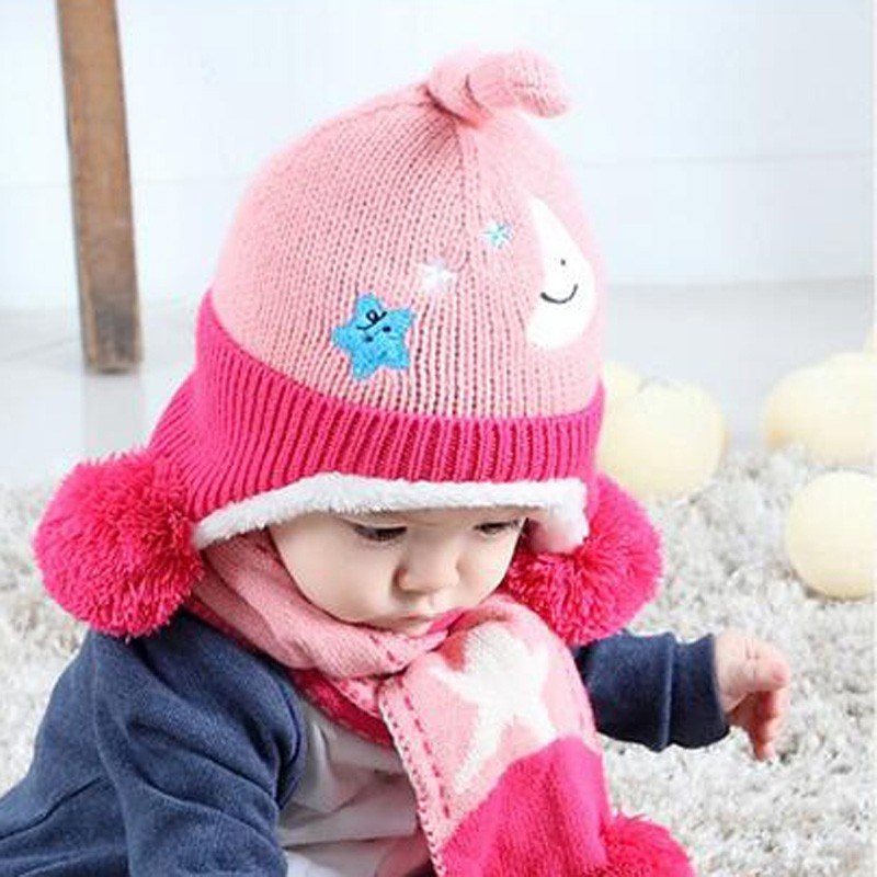 Baby Knit Cap Scarf A Set Winter Warm Hat For Children Beanie Kid Moon 5Pointed Stars Cute Scarves With Pompom Ear Protection