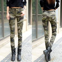 2016 New Casual Women Camo Cargo Pant With Pocket Women Outdoor Camouflage Jean Skinny Pencil Pant Camo Sweatpant Jogger pant(China (Mainland))