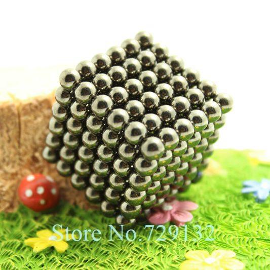 Free shipping 5mm Buckyballs Magnetic balls Neocube Magic cube Magnet Puzzle (Black nickel, Round tin box)(China (Mainland))