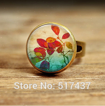1pc free shipping Summer Leaves Round Glass Dome Art Picture Photo ring adjustable ring for women