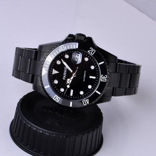 Бесплатная доставка 40 мм Парнис Керамическая Рамка Световой Марка Мужчины Автоматические Часы PA4001PB