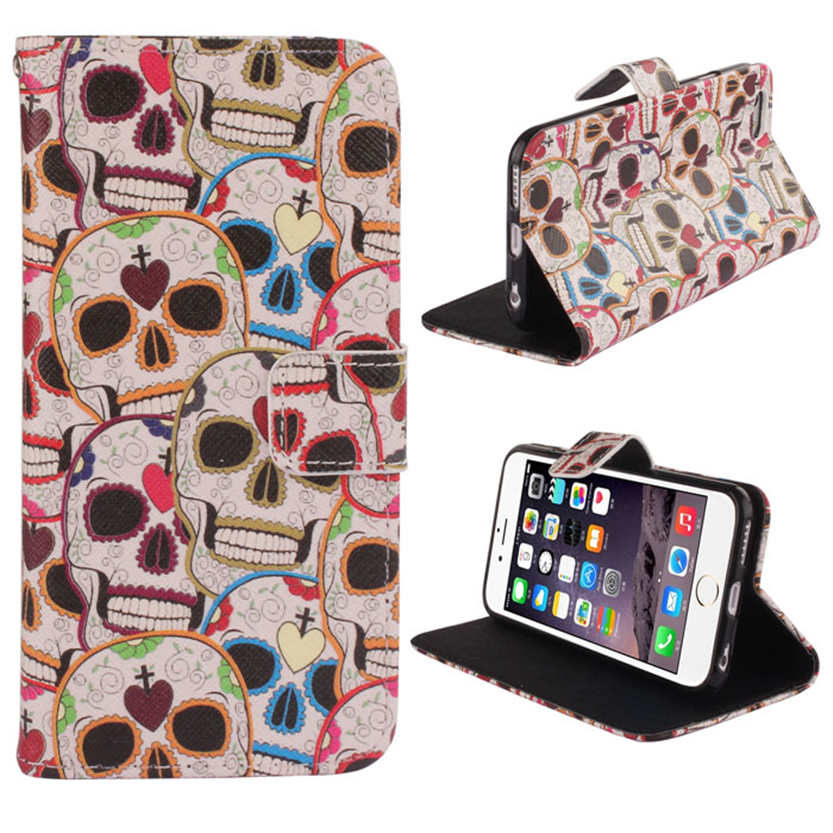 Del Skull Phantom Wallet Flip Leather Cover Case For iPhone 6 4.7 Inch Mar28(China (Mainland))