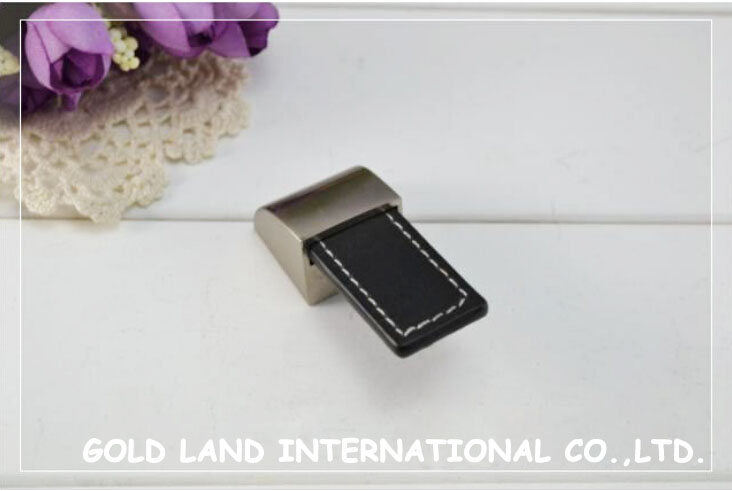 L55xW22xH15mm single hole sand nickel color zinc zlloy with black leather durable drawer knob book cabinet pull bedside handle<br><br>Aliexpress