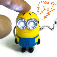 New Minions Cartoon Movie Despicable Me 2 3D Led Keychain PVC Action Figure Toys say I love you gift for lovers Light-Up Toys(China (Mainland))
