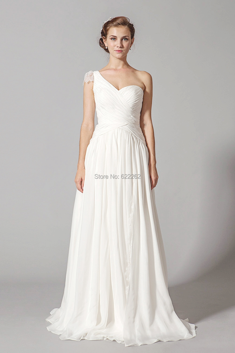 One shoulder pleats high quality white wedding dresses for Lace mid length wedding dresses
