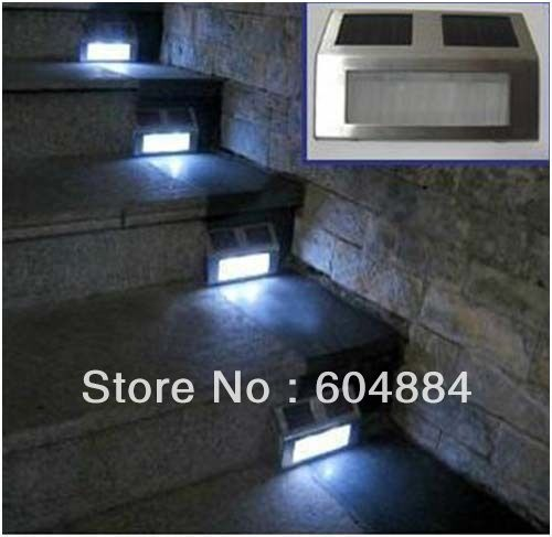 Free Shipping New 5Pcs Pathway Garden Deck Path Steel Step Stairs LED Solar Power Light Wall Lamps(Hong Kong)