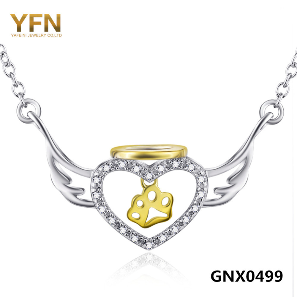 GNX0499 New 925 Sterling Silver Jewelry Gold Dog Paw Necklace Fashion Jewelry Angel Wings Heart Pendant Necklace For Women(China (Mainland))