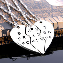 Buy New Chic Best Friend Forever Broken Heart 3 Parts Pendant Necklace Chain Fashion Jewelry Gifts Friendship Love Sister Brother for $1.29 in AliExpress store