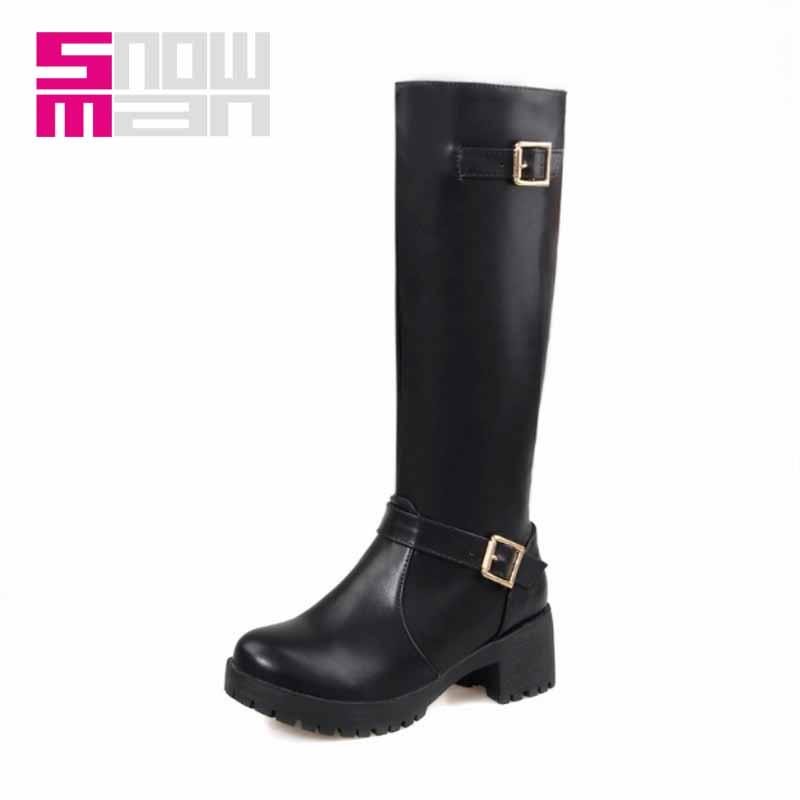 Size 34-43 Platform Women Boots Fashion Buckle Strap Knee High Boots for Lady's Square Heels Add fur Fall Winter Boots 2016