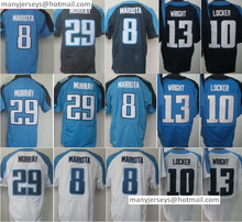 Best 8 Marcus Mariota 29 DeMarco Murray 22 Derrick Henry13 Kendall Wright Stitched Quality Blue White Products Free Shipping(China (Mainland))
