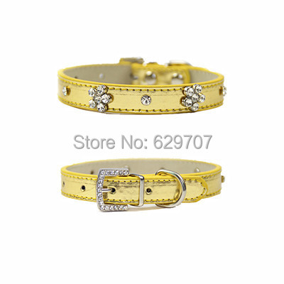 Personalized Pu Leather Pet Dog Collar Rhinestone Flowers Accessories Small Pet Products For Dogs