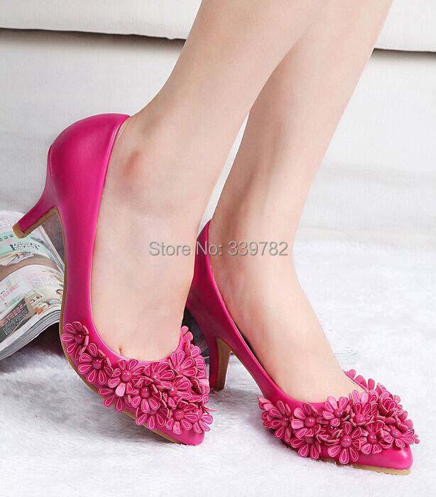 2015 Women pumps Fashion Korean version Bohemian flowers high-heeled Pu leather pointed toe women shoes 35-40. - Super Sheen Store store