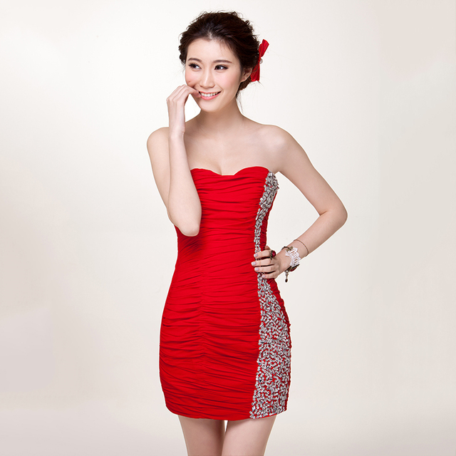2013 wedding formal dress short design red tube top bridal bridesmaid 8016