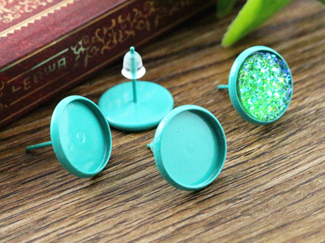 12mm 20pcs Turquoise green Color Plated Earring Studs,Earrings Blank/Base,Fit 12mm Glass Cabochons,Buttons;(L2-06)(China (Mainland))