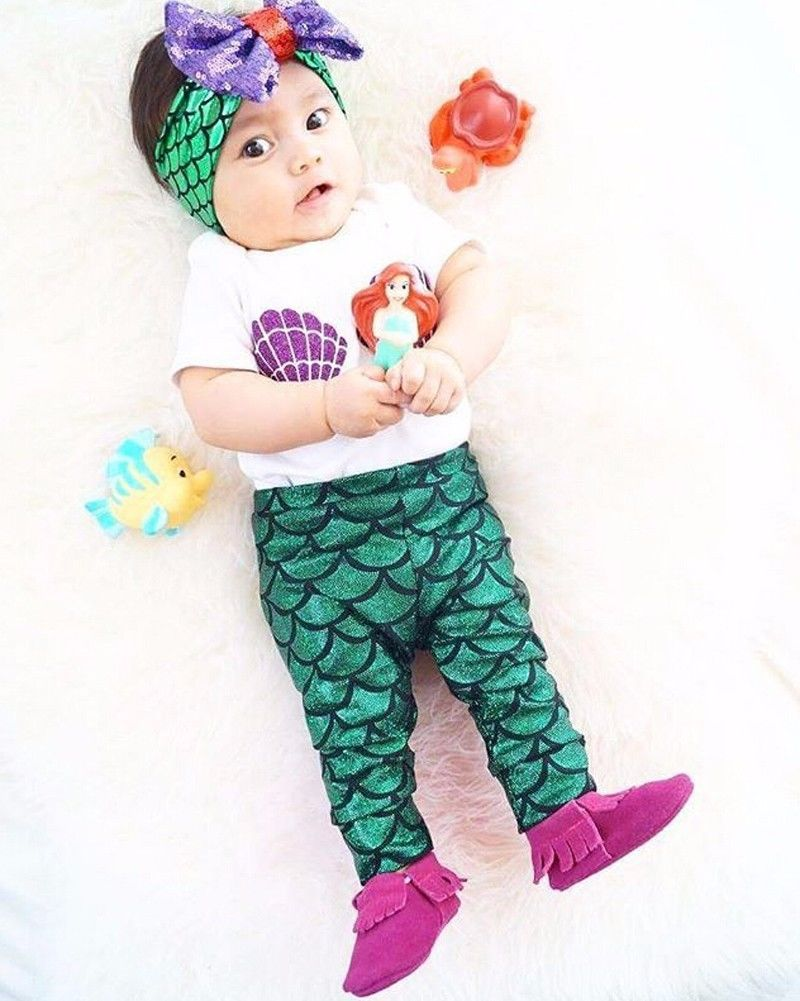 newborn baby girl boy ropa shell patrn tops camiseta de la sirena diseo legging pant unids ropa m infantil para nios f