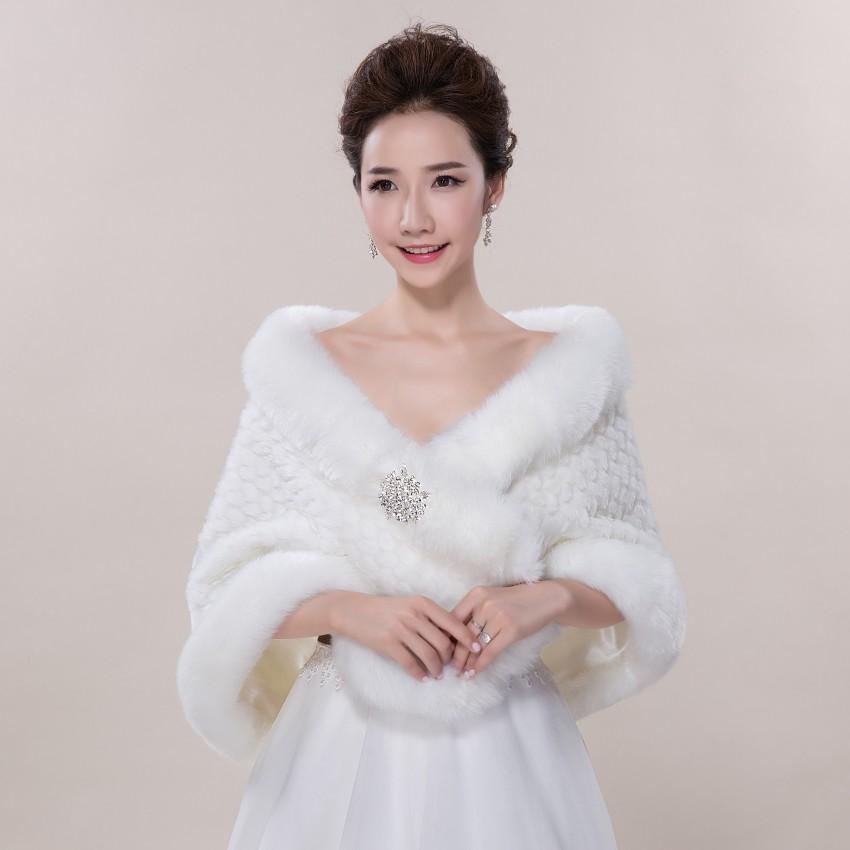 Free Shipping 2017 Winter Ivory Faux Fur Shrug Cape Stole Wrap Shawl Wedding Bridal Cape Jacket Wedding Accessories