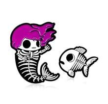 Ungu Rambut Merah Remaja Kepala Kerangka Ikan Ekor Enamel Pin Kartun Hewan Ikan Tulang Lencana Kepribadian Kreatif Gaya Punk Pin(China)