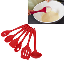 6pcs/set Silicone Heat Resistant Cooking Tool Set Kitchen Utensils Gadgets Spatula Spoons Cook Accessories Gift High Quality