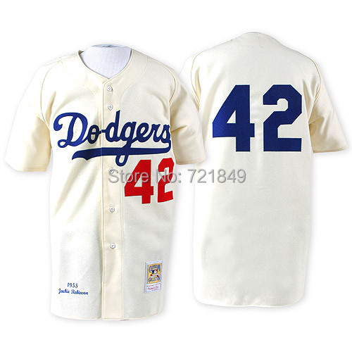 Men's Cooperstown Jersey Brooklyn Dodgers LA #42 Jackie Robinson Cream throwback MN 1955 baseball shirt on sale(China (Mainland))