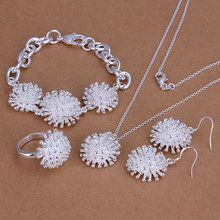 S250 925 sterling silver jewelry set,classic style,fashion jewelry,antiallergic Fireworks Ring Earrings Necklace Jewelry Set(China (Mainland))