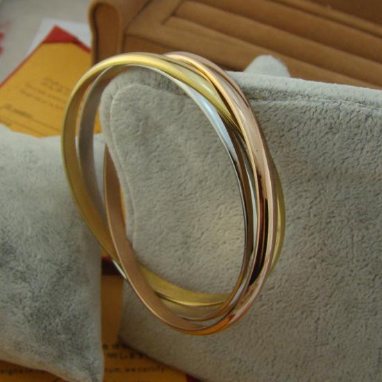 Woman unique 316L titanium 14K rose gold bangle silver rings design, one set price - Cici's Friends store