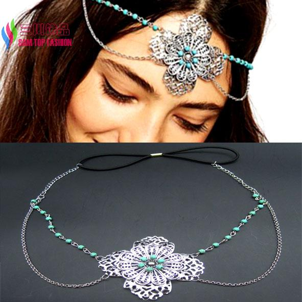 hot vintage anti-silver flower blue turquoise bead bridal wedding headbands women hair crown accessories jewelry bijoux(China (Mainland))