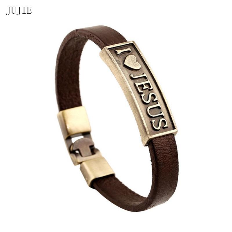 JUJIE Leather Bracelet Fashion Charm Leather Bracelet For Men Vintage Cute I Love Jesus Antique Gold Plated Bracelets&Bangles(China (Mainland))