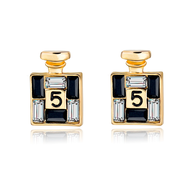 2015 New Sale Crystal Channel Earrings Brand Luxury Gold Stud Earring For Women Earings Fashion Jewelry Brincos SER150066(China (Mainland))