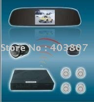 12Voltage waterproof rear view camera rear view mirror 3.5inch TFT display 4 ultrasonic parking sensor  PVV-2-350