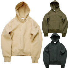 Very good quality nice hip hop hoodies with fleece WARM winter mens kanye west hoodie sweatshirt swag solid Olive YEEZY pullover(China (Mainland))