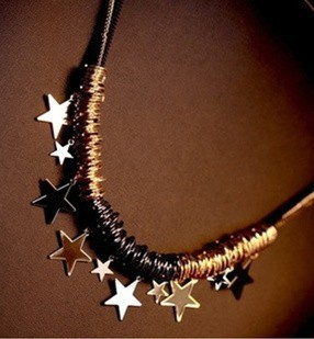 Free Shipping Min order 10$ (can mix order)2013 Multi-layer Rope stars  style   vintage black sweater chain necklace-NA0063