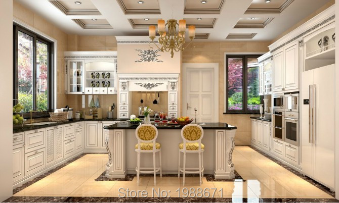 Luxury Champagne Solid Wood Kitchen Cabinets with granite countertop <br><br>Aliexpress
