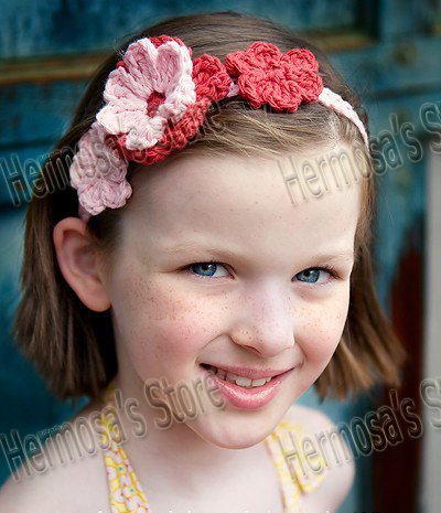 Free Crochet Patterns For Flower Headbands : Babies Knitted Headbands images