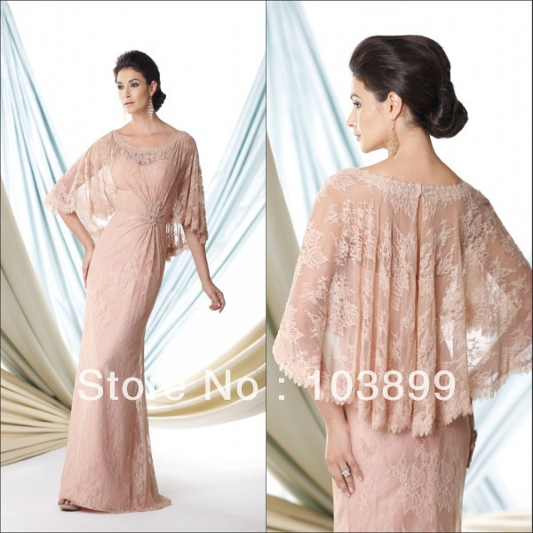In Style Lovely A-line Scoop Neck Beaded Pink Lace Mother of the Bride Dress with Bolero Long Free Shipping(China (Mainland))