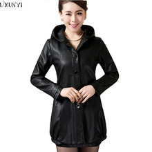 Free Shipping 2016 Spring Fall Mother's Long  Hooded Sheepskin Leather Jackets, Plus Size Leather Coat  L- XXXXL 5XL(China (Mainland))