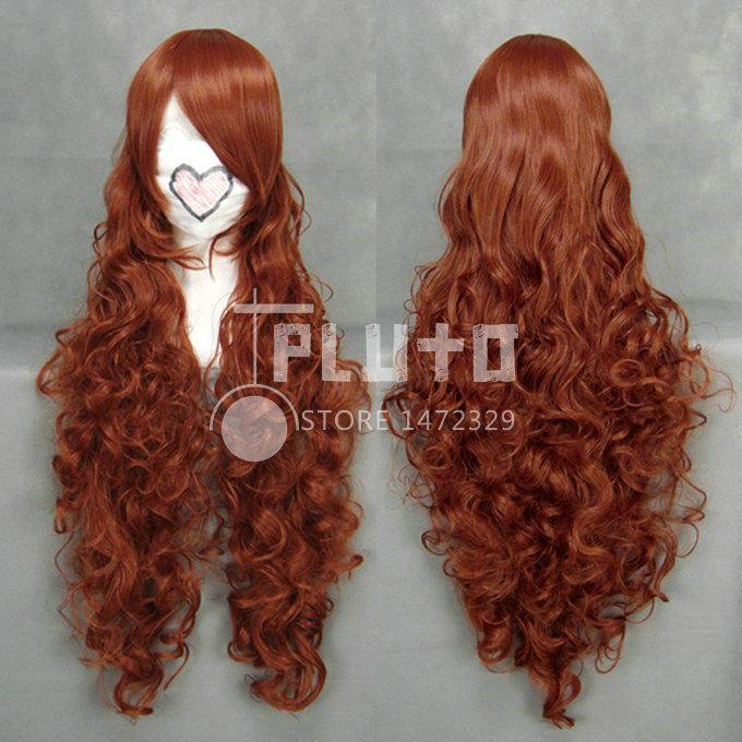 Rozen Maiden Jade Stern / Suiseiseki Cos Wig Red Brown Wavy Long 90cm Anime False Hair P104E