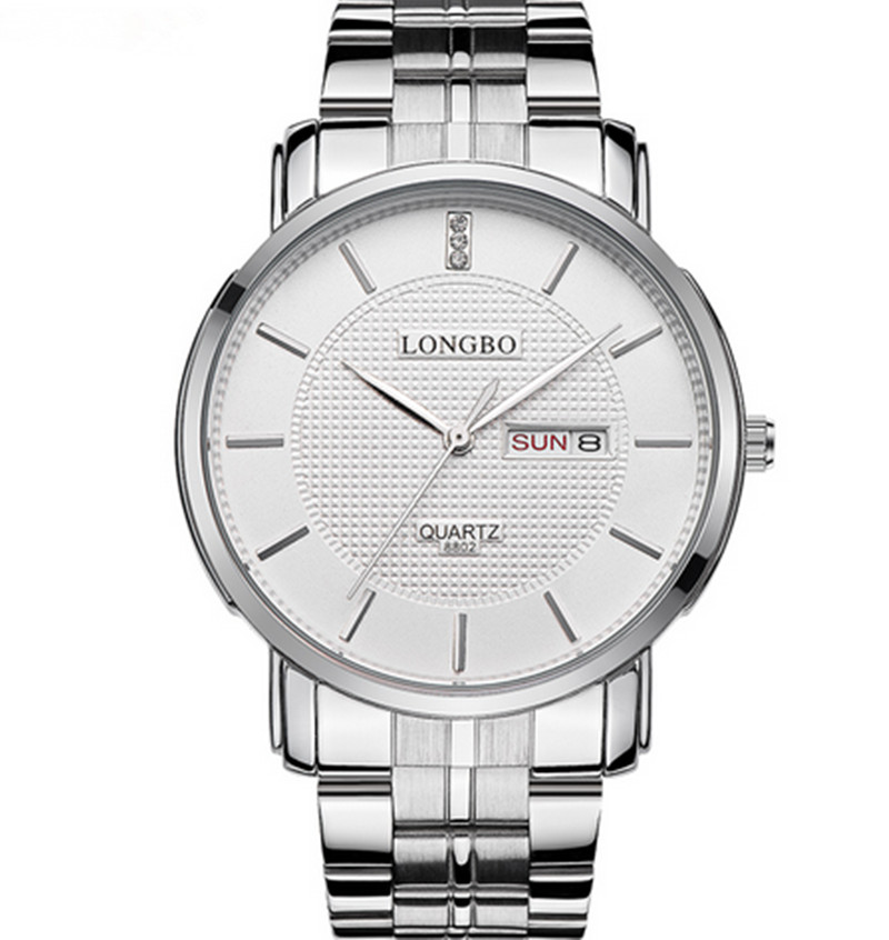 Brand LONGBO8802 Men/Women's Wrist Watch Casual Stainless Steel Strap Glass Dial Calendar Waterproof montre homme marque de luxe(China (Mainland))