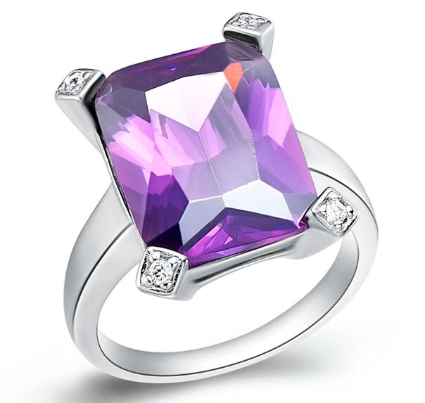Square Anel Feminino Purple Stone Wedding Rings Sterling Silver Ruby Jewelry for Women Blue CZ Diamond