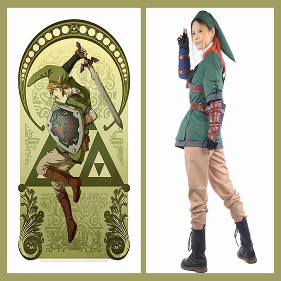 The Legend of Zelda Dress Link Costume Outfit COSplay Full Suit Uniform Game Pops Replica(China (Mainland))