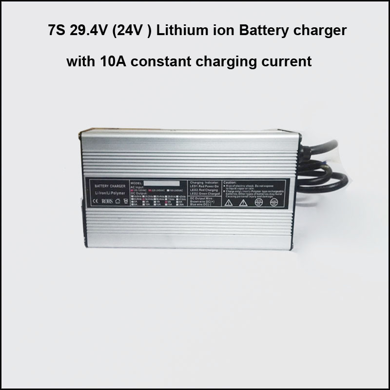 7S 29.4V 10A lithium ion battery charger 24V lithium e-bike battery charger 7S lithium polymer battery charger(China (Mainland))