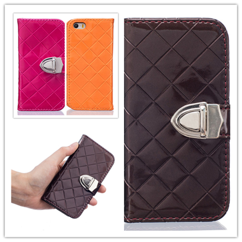 8 colors Grid style Leather PU Wallet card slot metal button Flip Case For iPhone 5 5S SE Cover Coque Phone Bag Protective shell(China (Mainland))