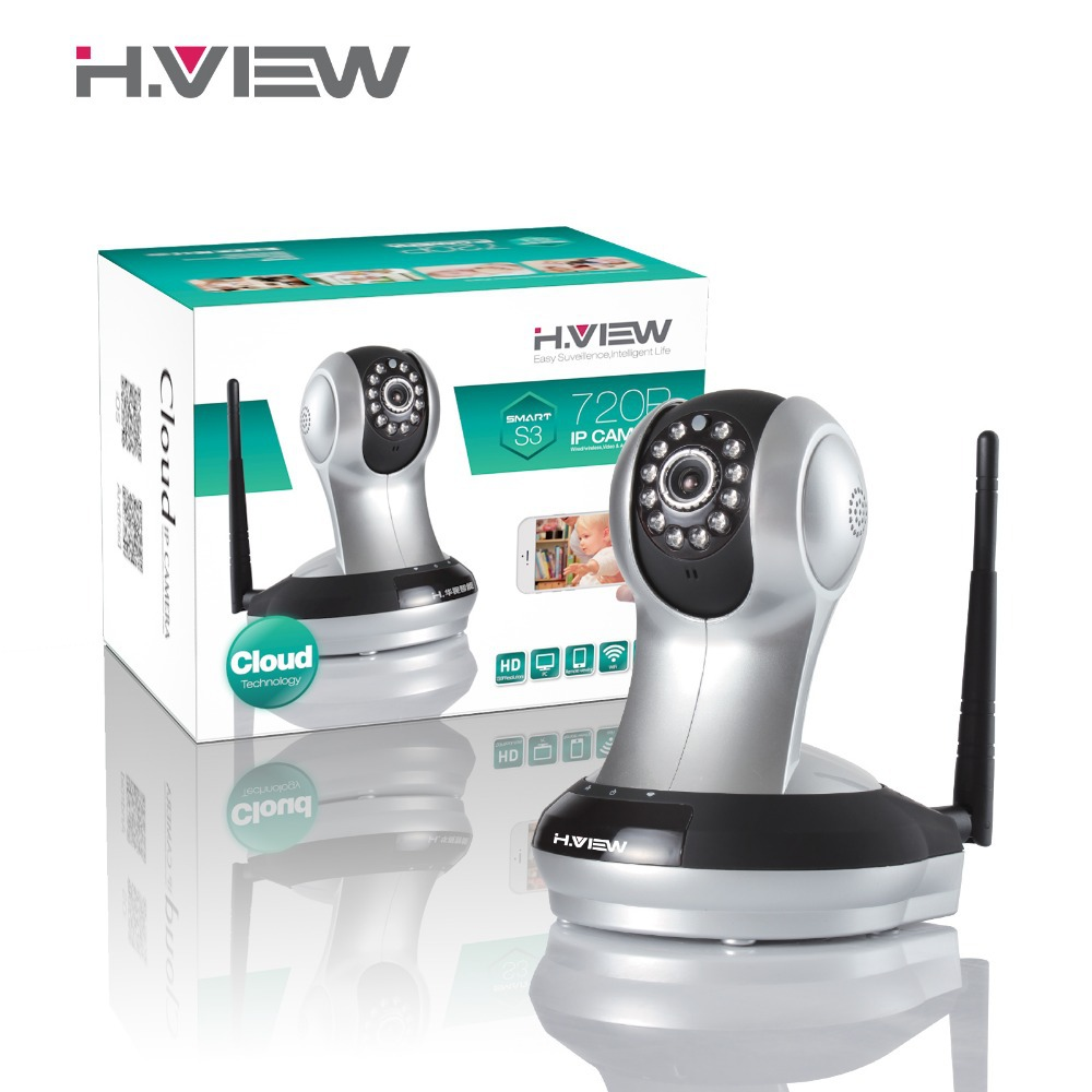 H.VIEW S3 CMOS 720P CCTV Cloud IP Camera 10m IR WIFI camera Surveillance cameras P2P - EU Plug(China (Mainland))
