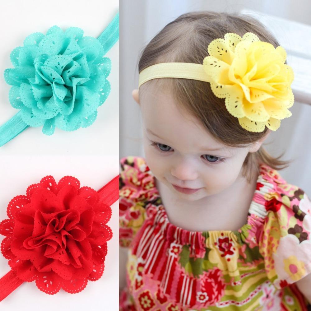 1pcs Girls headwear Baby Headband Infant Chiffon Eyelet Flower Headbands hair band Photography props Hair accessories(China (Mainland))