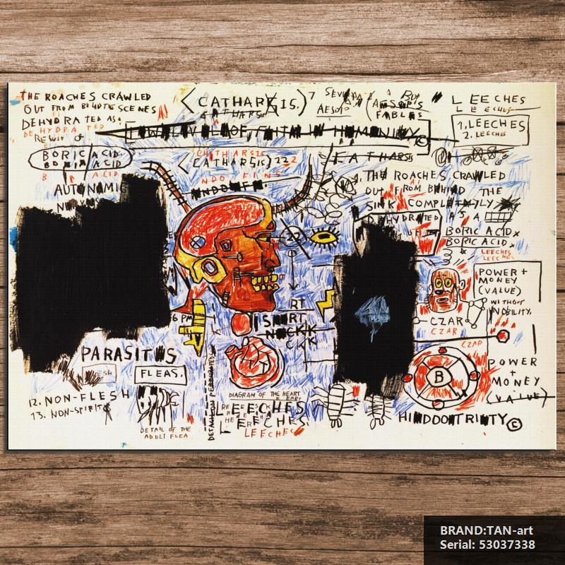 GRAFFITI ART POSTER PRINT ON CANVAS leeches BY Jean Michel Basquiat NeoExpressionism FOR HOME DECORATION 53037338(China (Mainland))