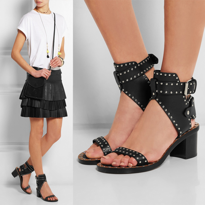 2015 Summer Rome Rivet Buckle Sandals Square Heel Thick Soled Leather Sandal Open Toe women Isabel Marant Sandals size 35-42(China (Mainland))
