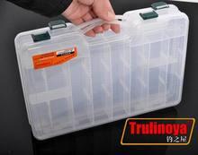 Trulinoya  Plastic Fishing Tackle Box Double layer fishing tools gear accessories 27cm*18cm*4.7cm