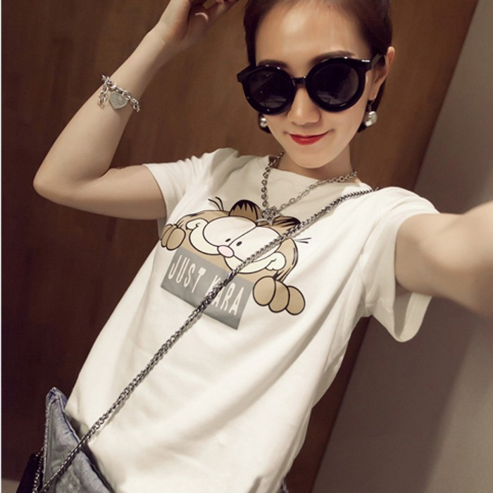 2015 new spring loose t-shirts female short-sleeved students render unlined upper garment big yards - shuijingling store