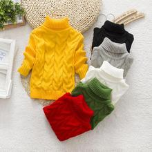2015 new mouse pure color winter boy girl fashion thick Knitted bottoming turtleneck shirts solid high collar sweater(China (Mainland))