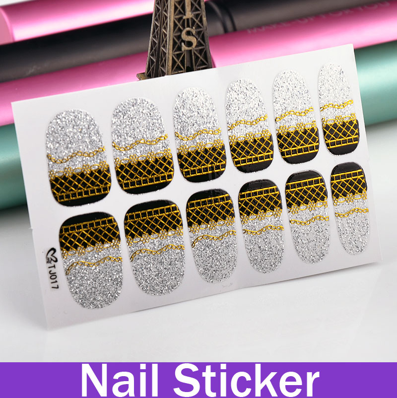 On Sale! Black And Gold Lace Hot Transfer Gold Stamping Design Stickers For Fingertip Gel Nails Halloween Nail Stickers(China (Mainland))