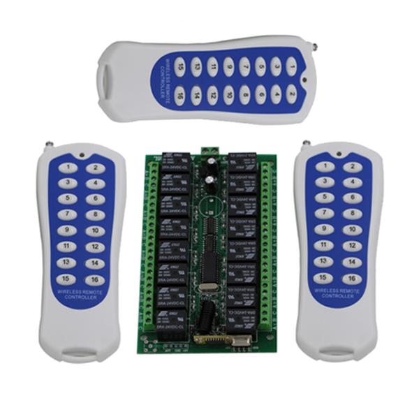 16CH wireless remote control switch RF 3 transmitter+receiver DC24V 7A Remote Control Switch<br><br>Aliexpress